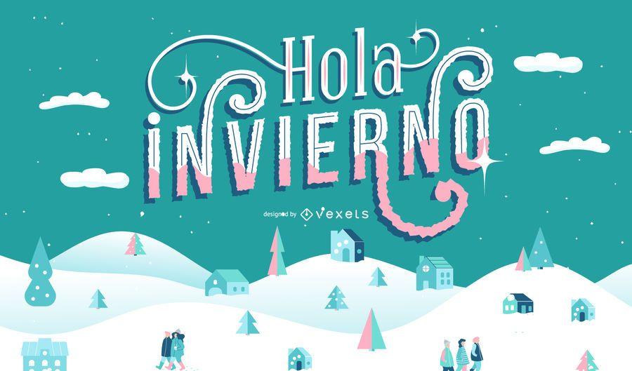 Hello winter spanish lettering