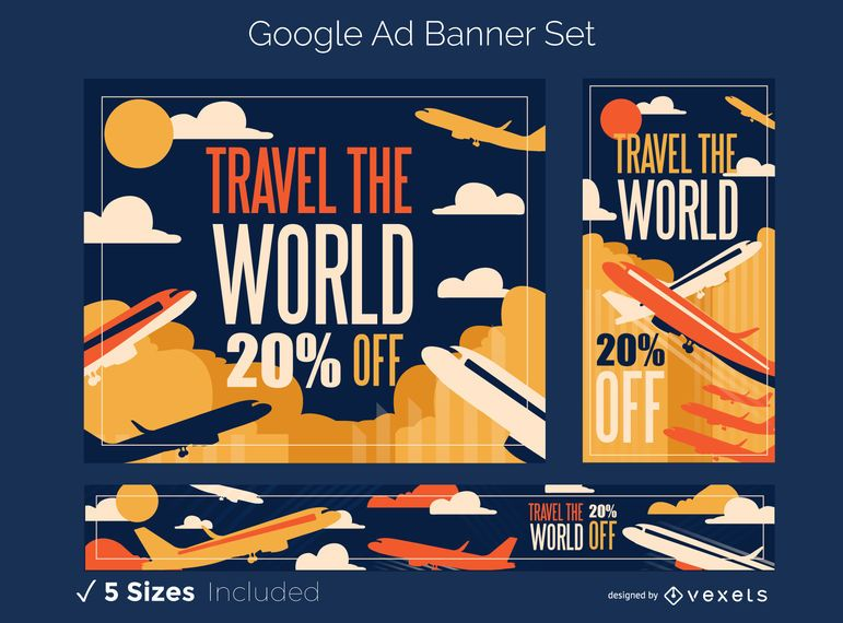 Conjunto de banner de anúncio de aviões