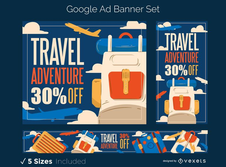 Travel adventure banner set
