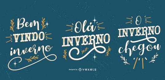 Conjunto de banner de cita portuguesa de invierno de Bemvindo Inverno