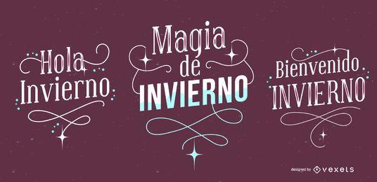 Conjunto de banner de letras de invierno español