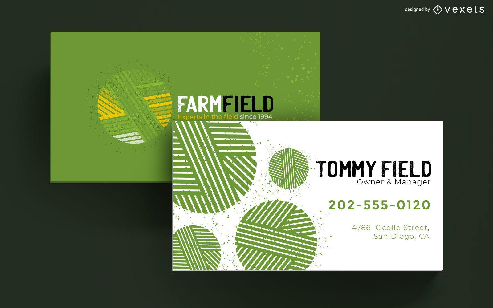 Tarjeta de visita de campo de granja