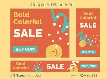 Conjunto de banner publicitario abstracto colorido