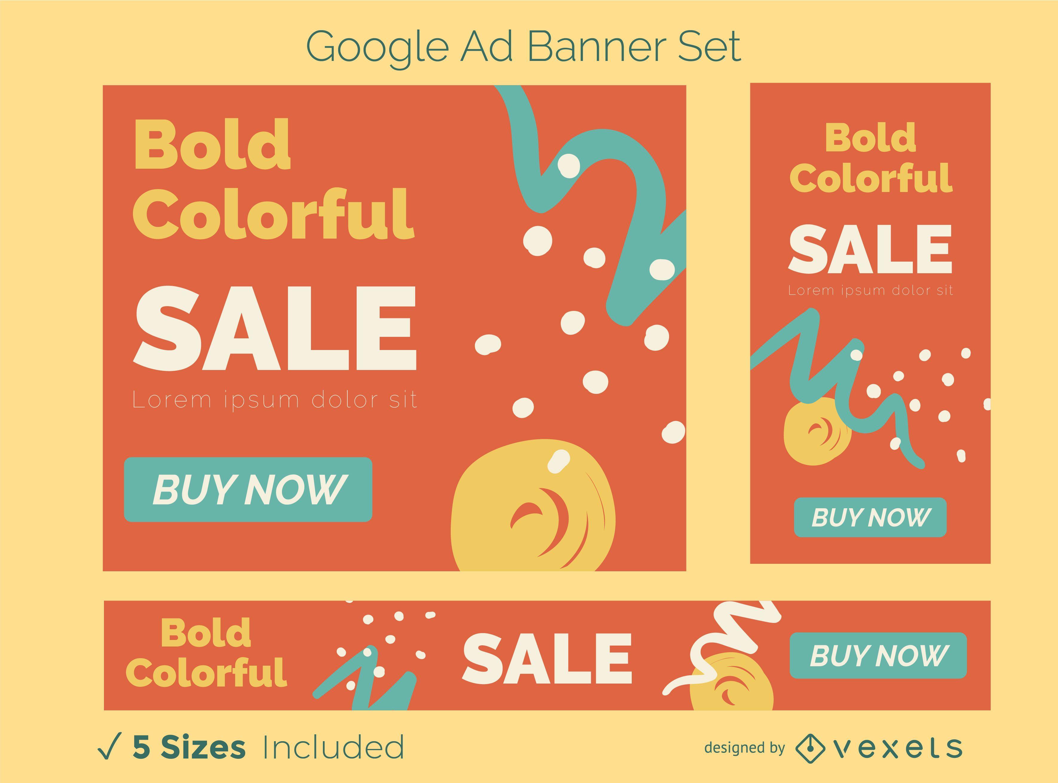 Conjunto de banner de anuncio abstracto colorido