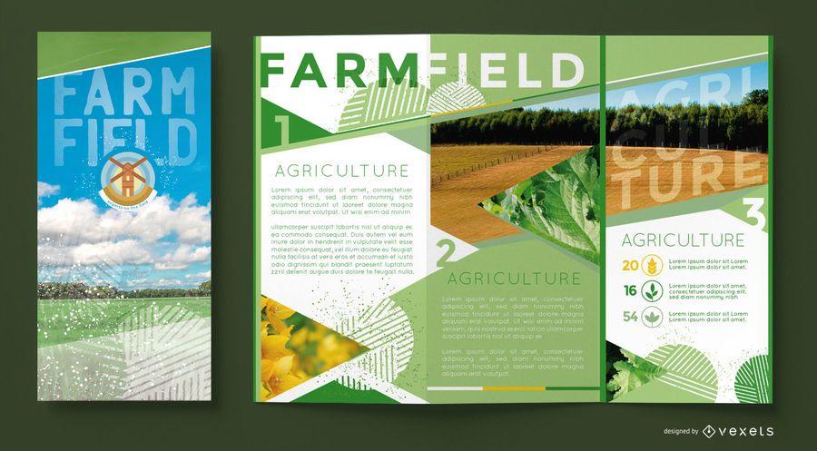 Plantilla de folleto de campo de granja