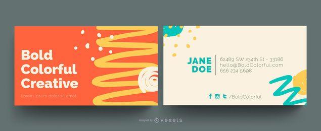 Cartão de visita corajoso abstrato colorido