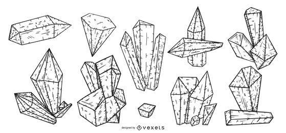 Pacote de vetor de cristal de traço