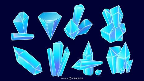 Conjunto de vetores de cristais azuis