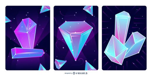 Magic crystals illustration set