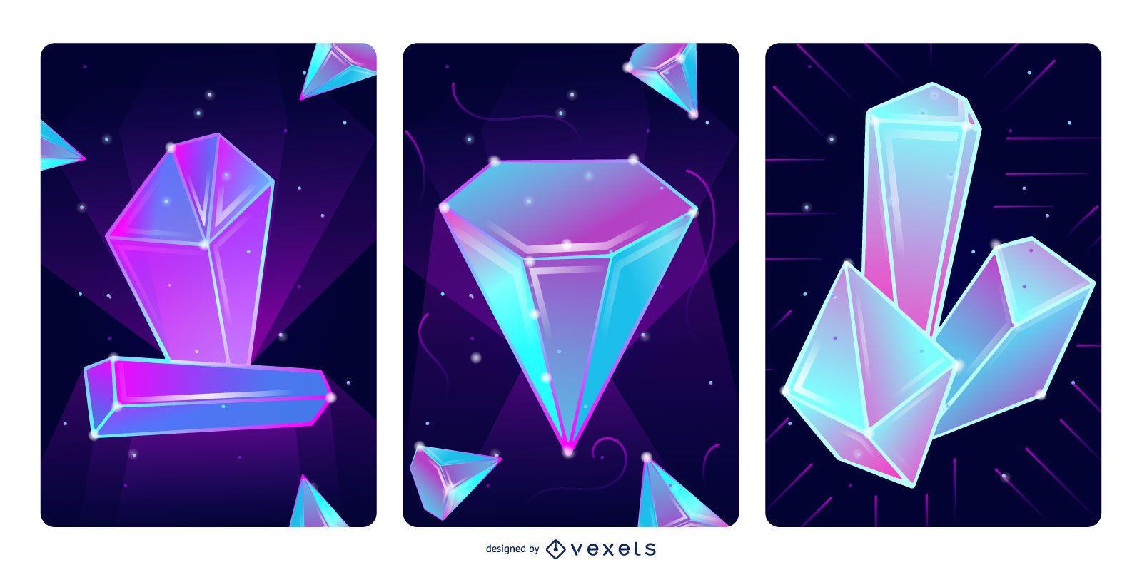 Conjunto de ilustración de cristales mágicos