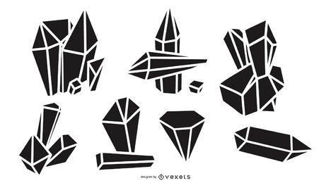 Conjunto de silhuetas de cristal