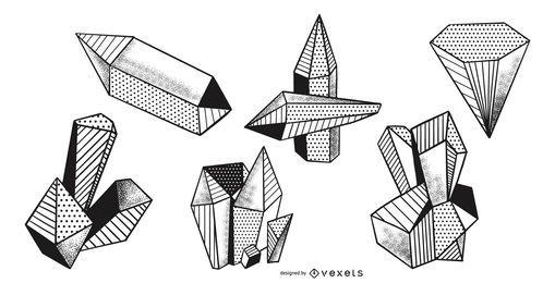 Crystals dots vector pack
