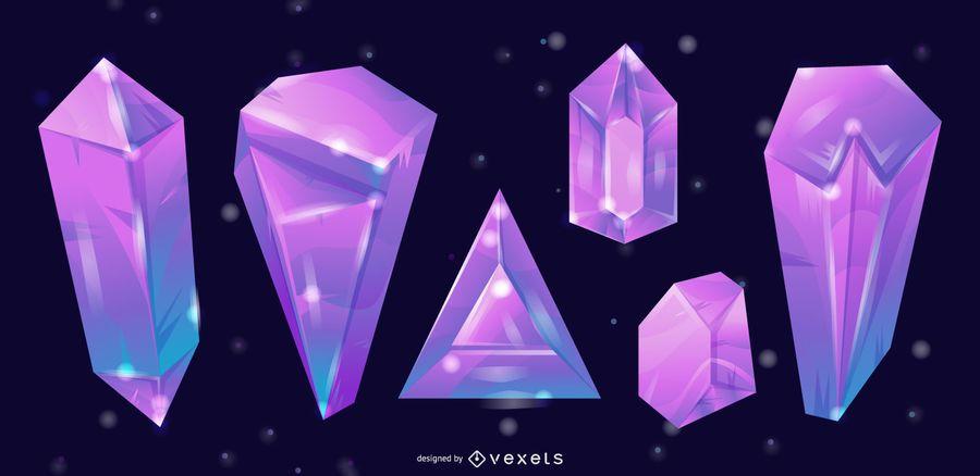 3d crystals vector set