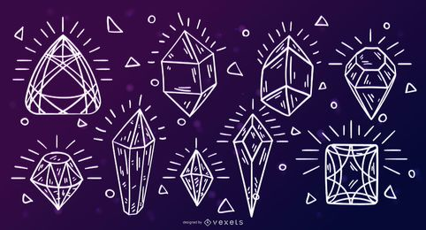 Conjunto de traços de gemas de cristal