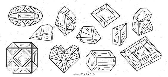 Kristalle Schlaganfall Vektor festgelegt