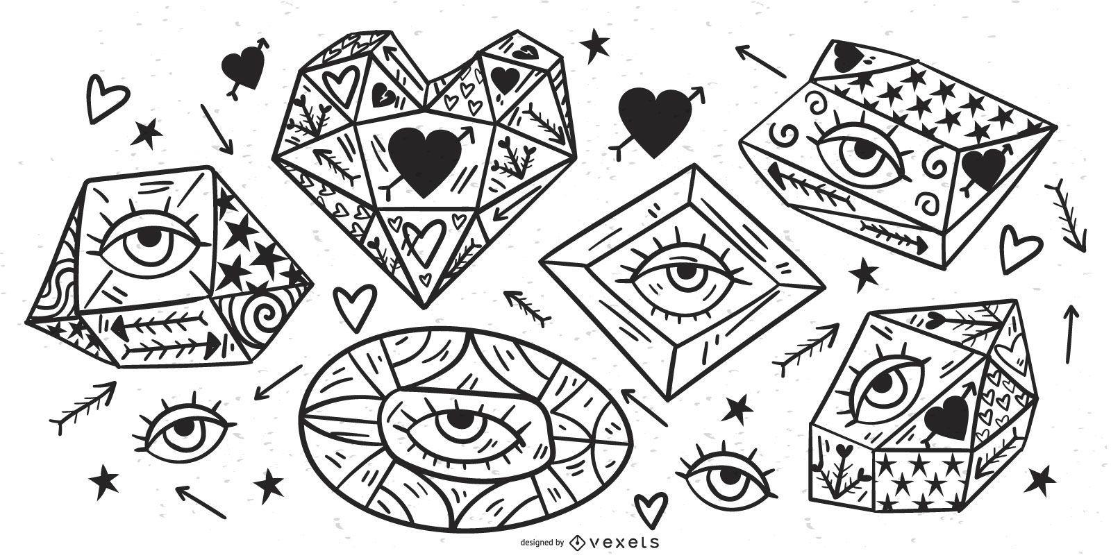 Conjunto de vectores de ojos de cristal