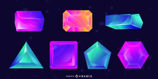 Colorful crystals vector set