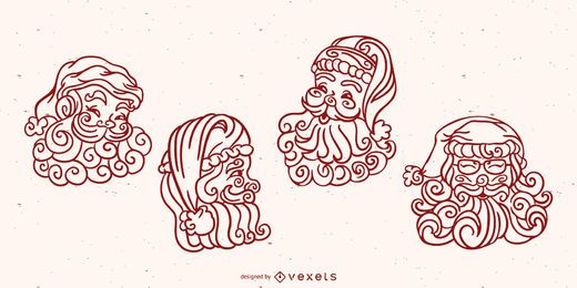 Santa swirls vector set