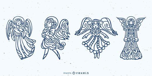 Conjunto de traços de mandala de anjos