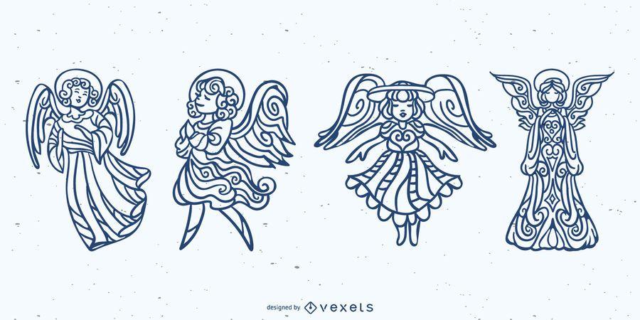 Mandala angels stroke set
