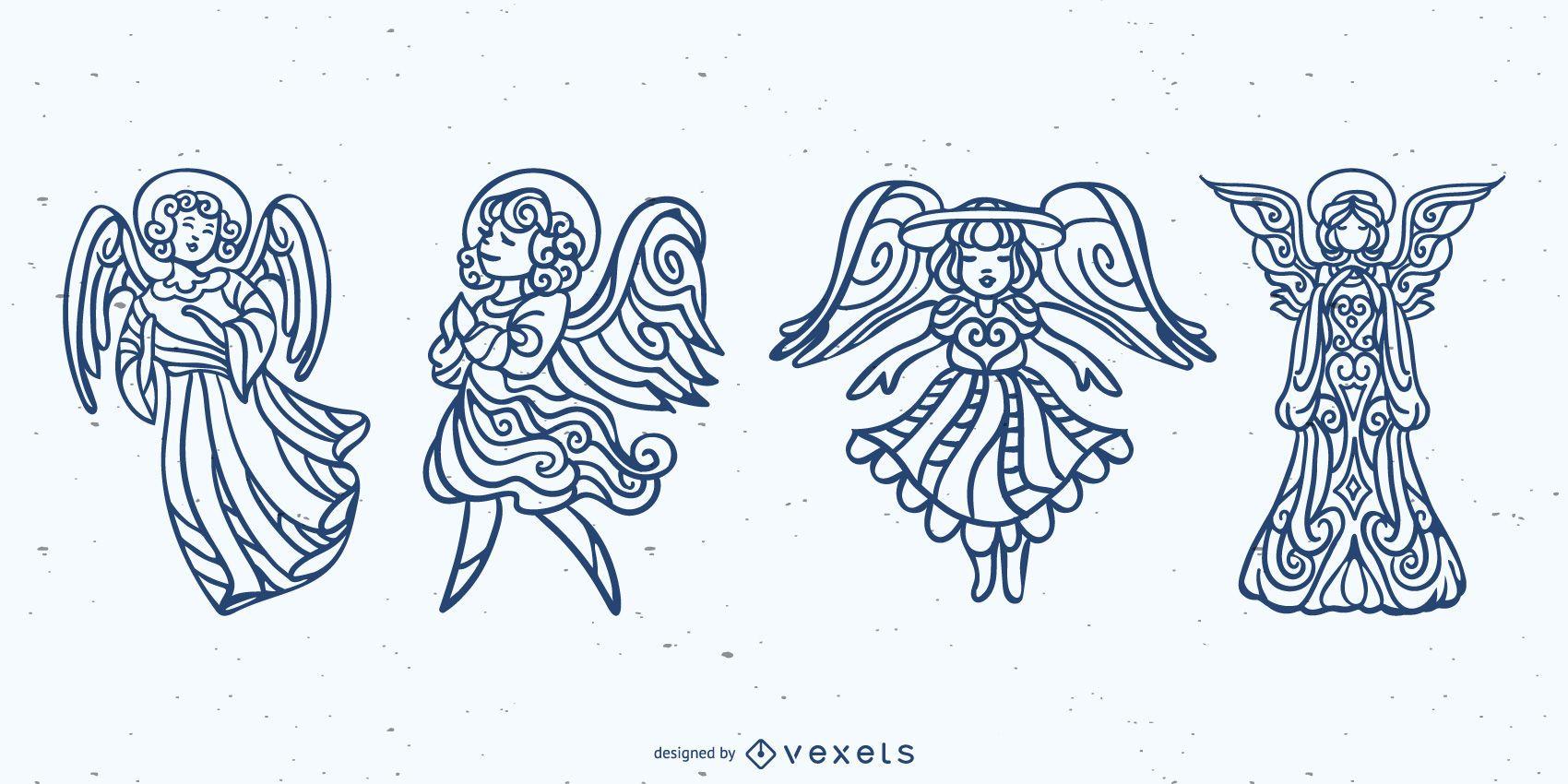 Conjunto de trazos de ángeles mandala