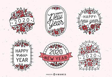 Conjunto de emblema floral de ano novo