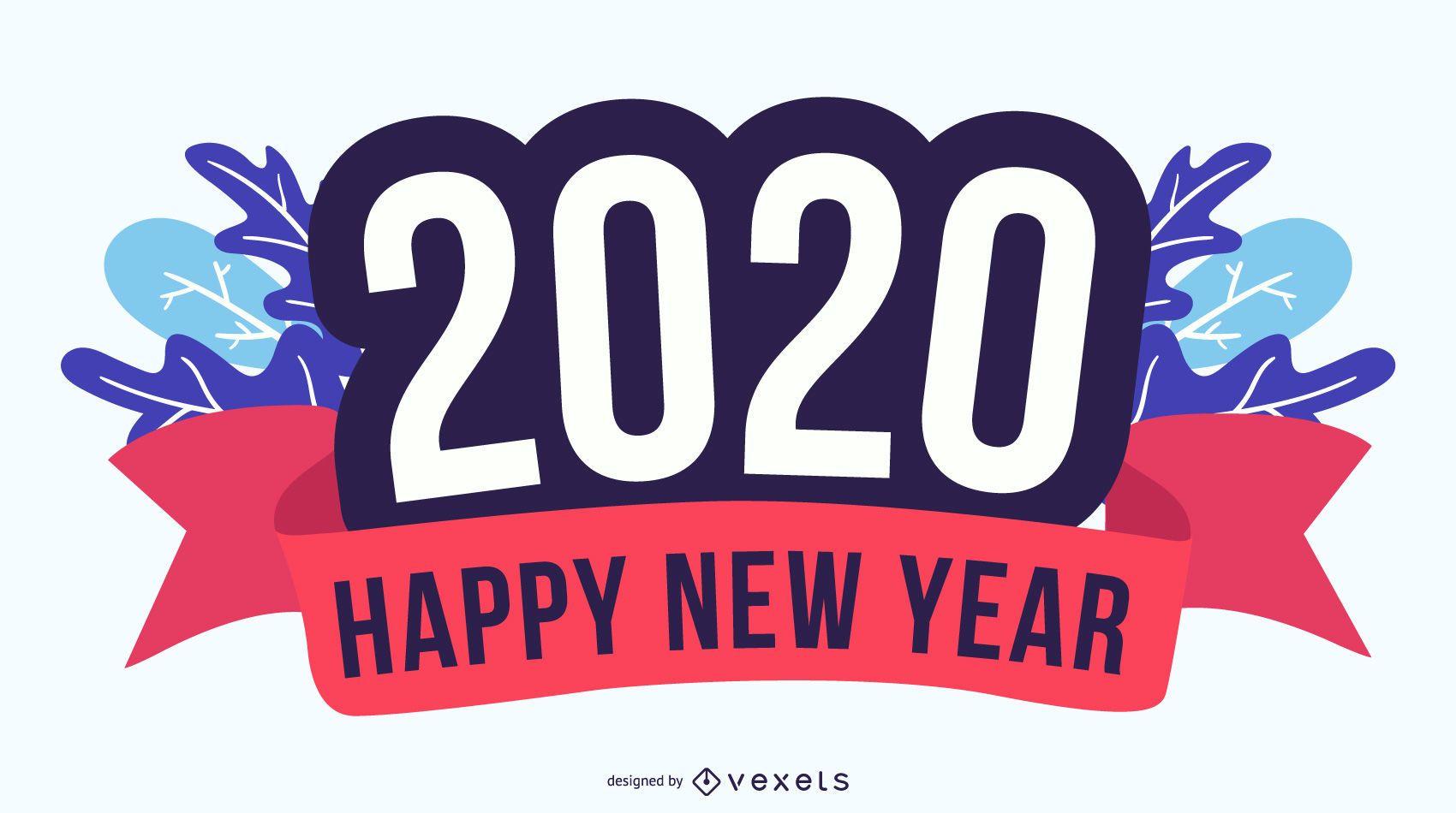 Emblema de feliz ano novo 2020