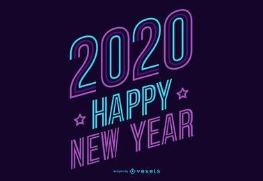 Letras de neón de año nuevo 2020