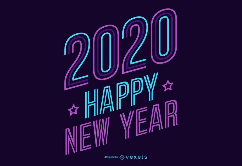 Letras de néon de ano novo 2020