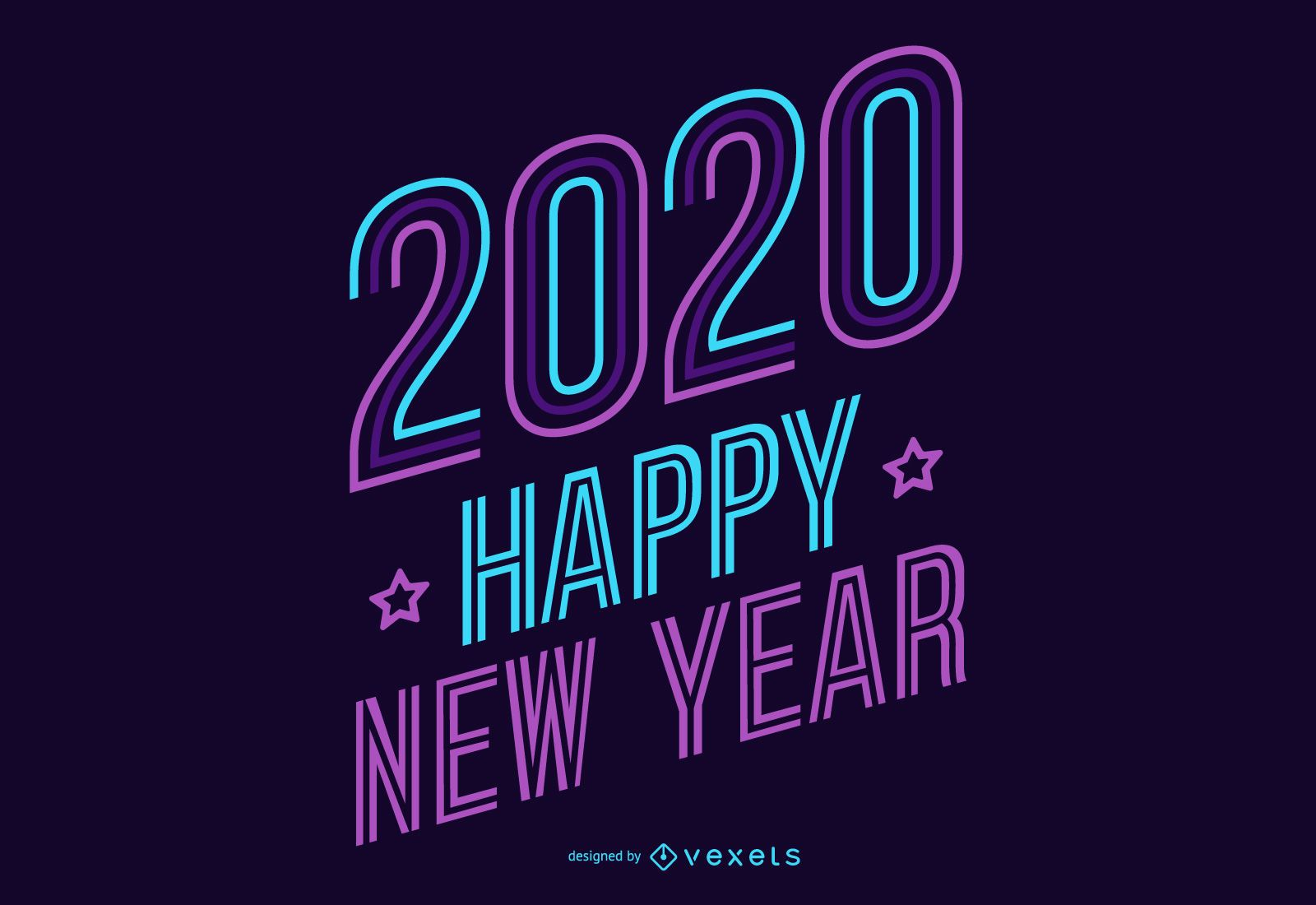 New year 2020 neon lettering
