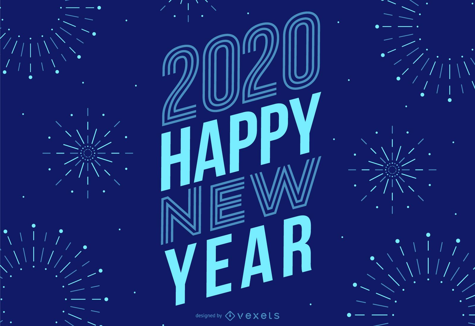 New year 2020 fireworks lettering