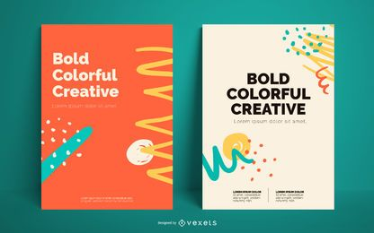Colorful abstract bold poster template