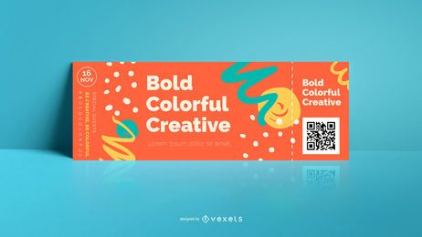 Colorful abstract bold ticket template