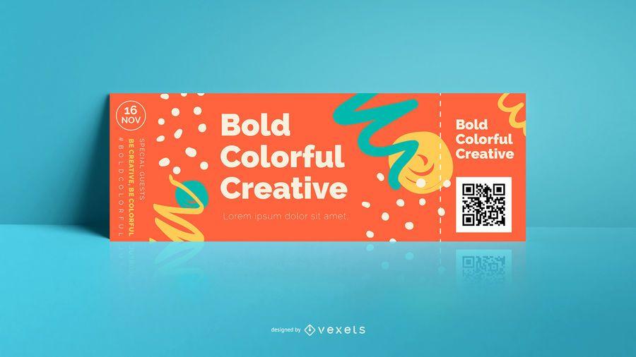 Plantilla de boleto audaz abstracto colorido