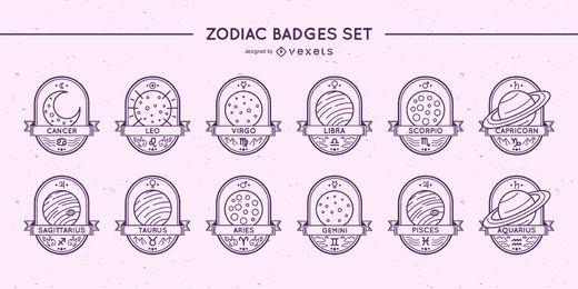 Conjunto de planetas com emblemas do zodíaco
