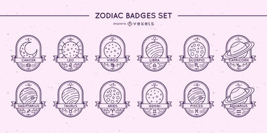 Conjunto de planetas de emblemas do zodíaco