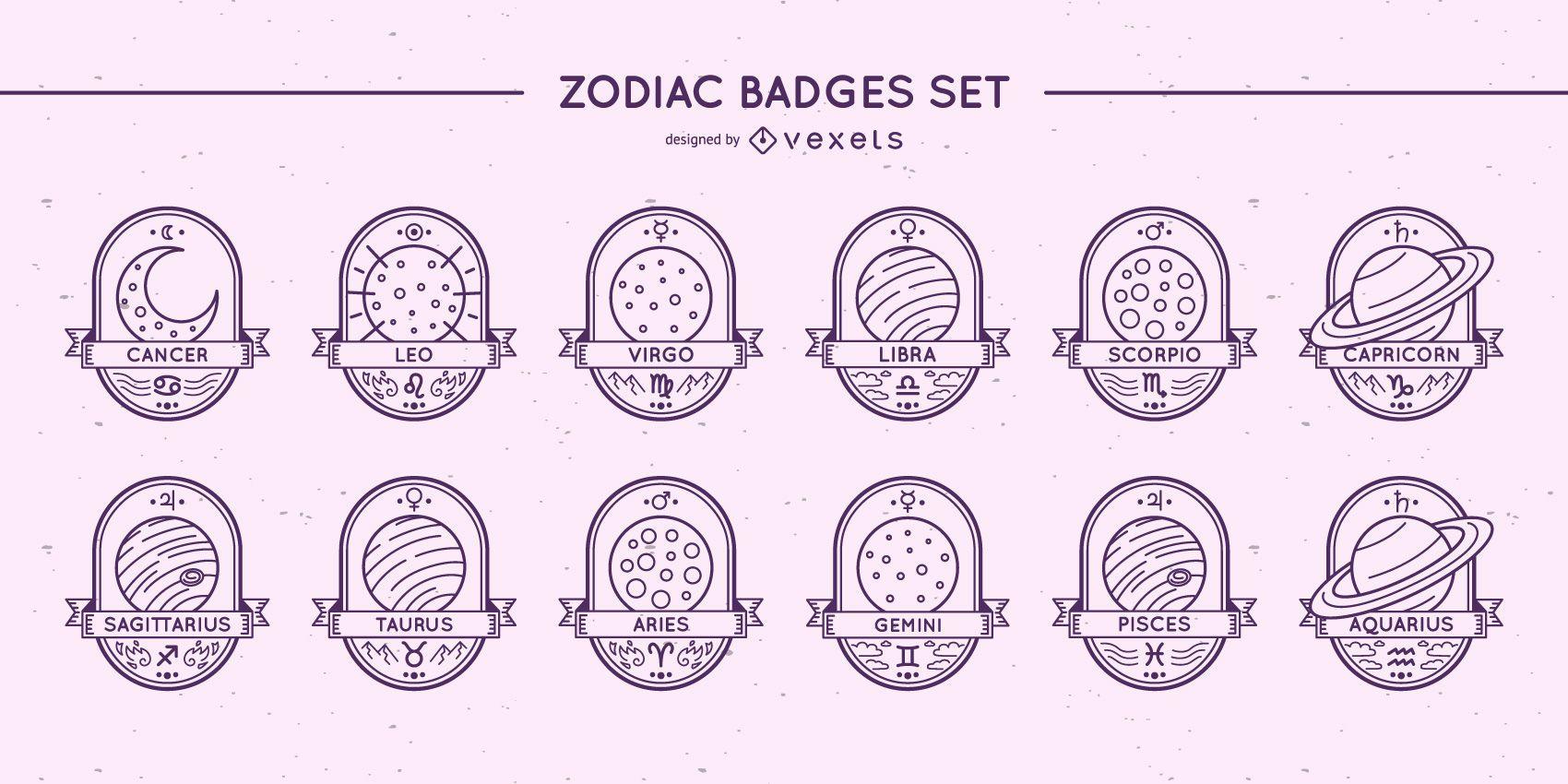 Conjunto de planetas de insignias del zodiaco.