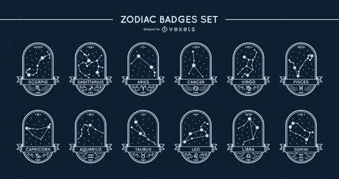 Conjunto de estrelas com emblemas do zodíaco
