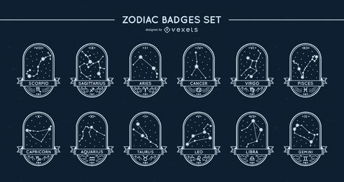 Zodiac badges stars set