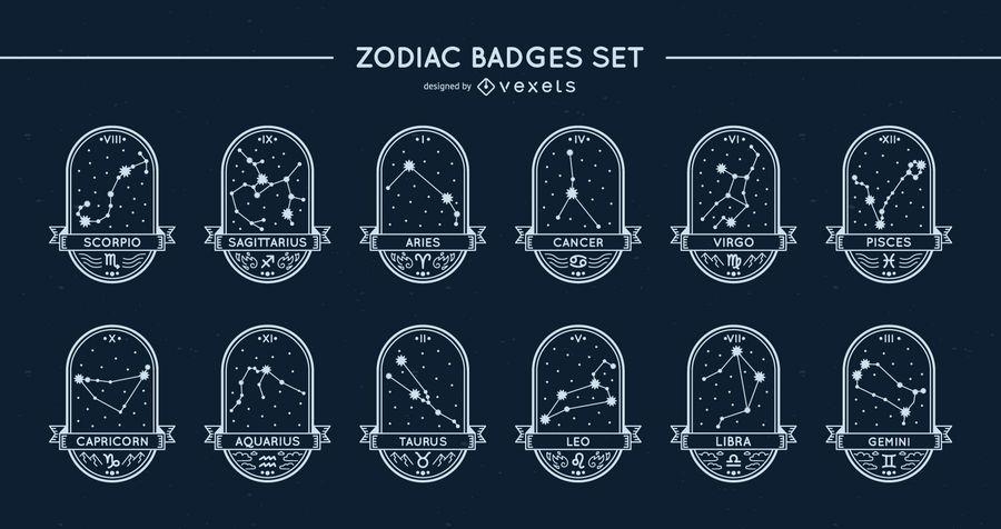 Zodiac badges stars set