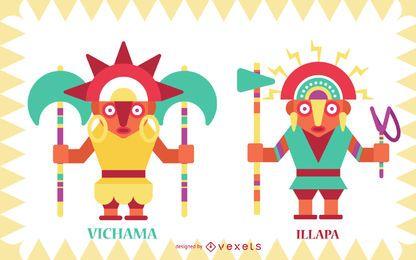 Inca gods flat vector set