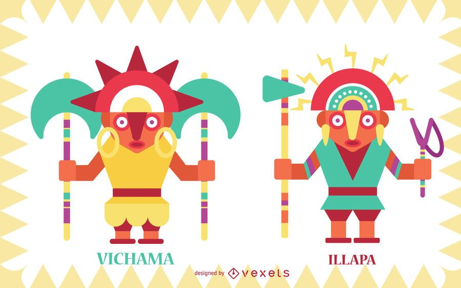 Inca gods flat vector set