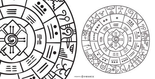 Mayan Wheel Abstract Design