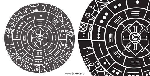 Diseño abstracto de la silueta de la rueda maya