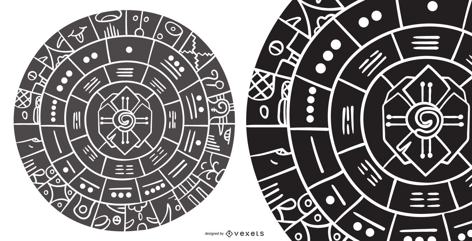 Abstract Mayan Wheel Silhouette Design