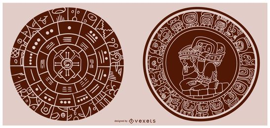 Mayan Calendar Fill Shape Illustration