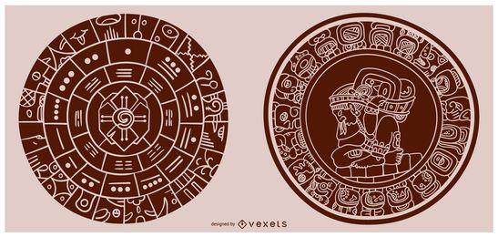 Mayan Calendar Fill Shape Illustration