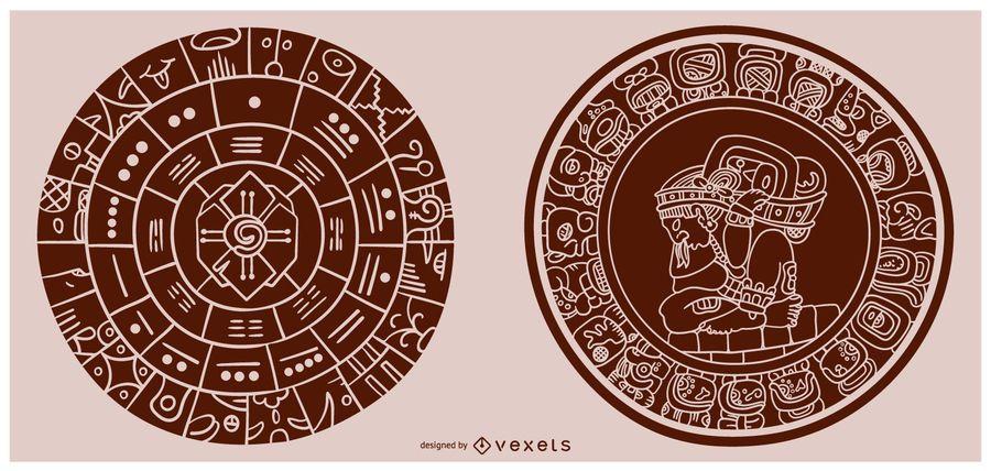 Ilustración de forma de relleno de calendario maya
