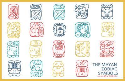 Pacote de símbolos do zodíaco maia