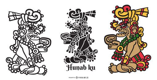 Hunab ku mayan god vector set